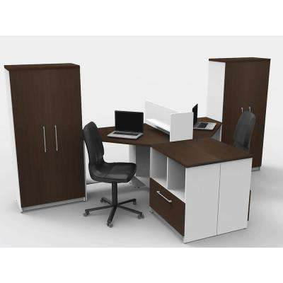 7-Piece White/Espresso Office Reception Desk Collaboration Center