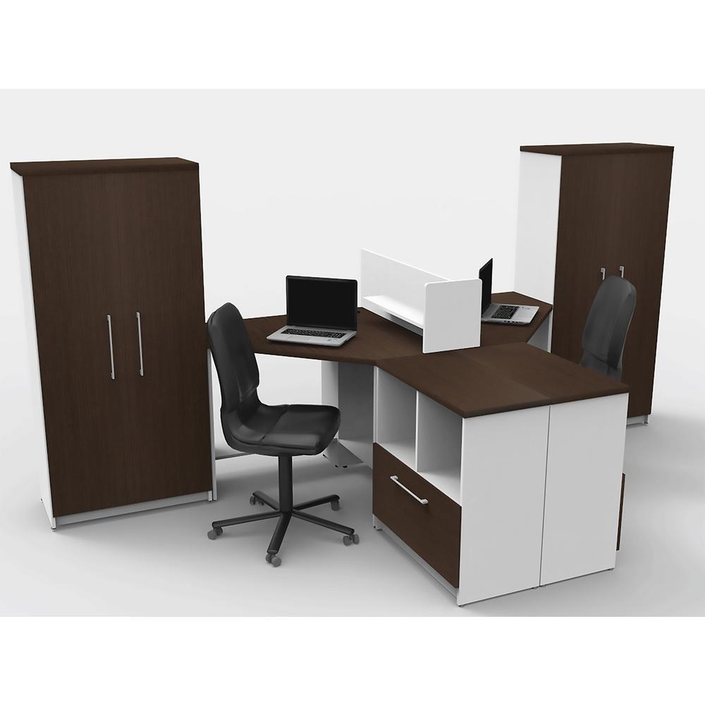 Ofie 7 Piece White Espresso Office Reception Desk Collaboration Center