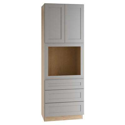 Tremont Assembled 33 x 96 x 24 in. Pantry/Utility Cabinet with 3 Soft Close Drawers and 2 Soft Close Doors in Pearl Gray