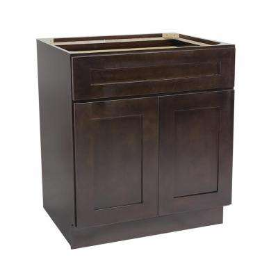 Ready to Assemble 30x24x34-1/2 in. Brookings Shaker Style 2-Door 1-Drawer Base Cabinet in Espresso