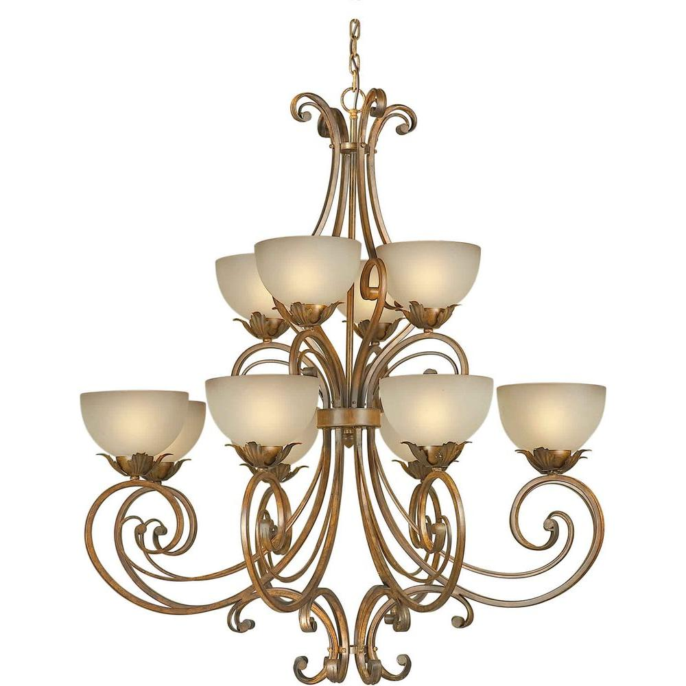 Illumine 12 Light Chandelier Rustic Sienna Finish Shaded Umber Glass-DISCONTINUED