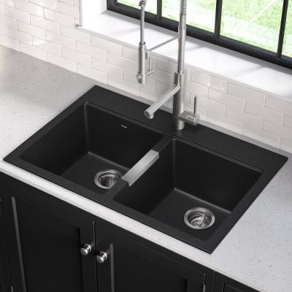 Drop-in/Undermount Granite Composite 33 in. 1-Hole 50/50 Double Basin Kitchen Sink Kit in Black Onyx