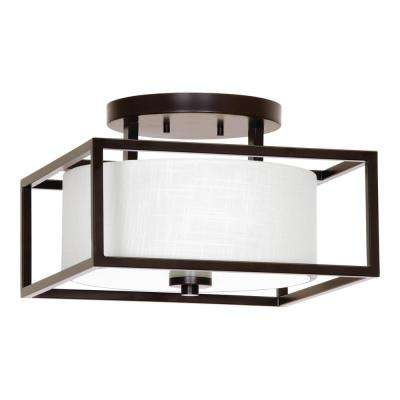 Province Collection 14 in. 2-Light Antique Bronze Semi-Flushmount