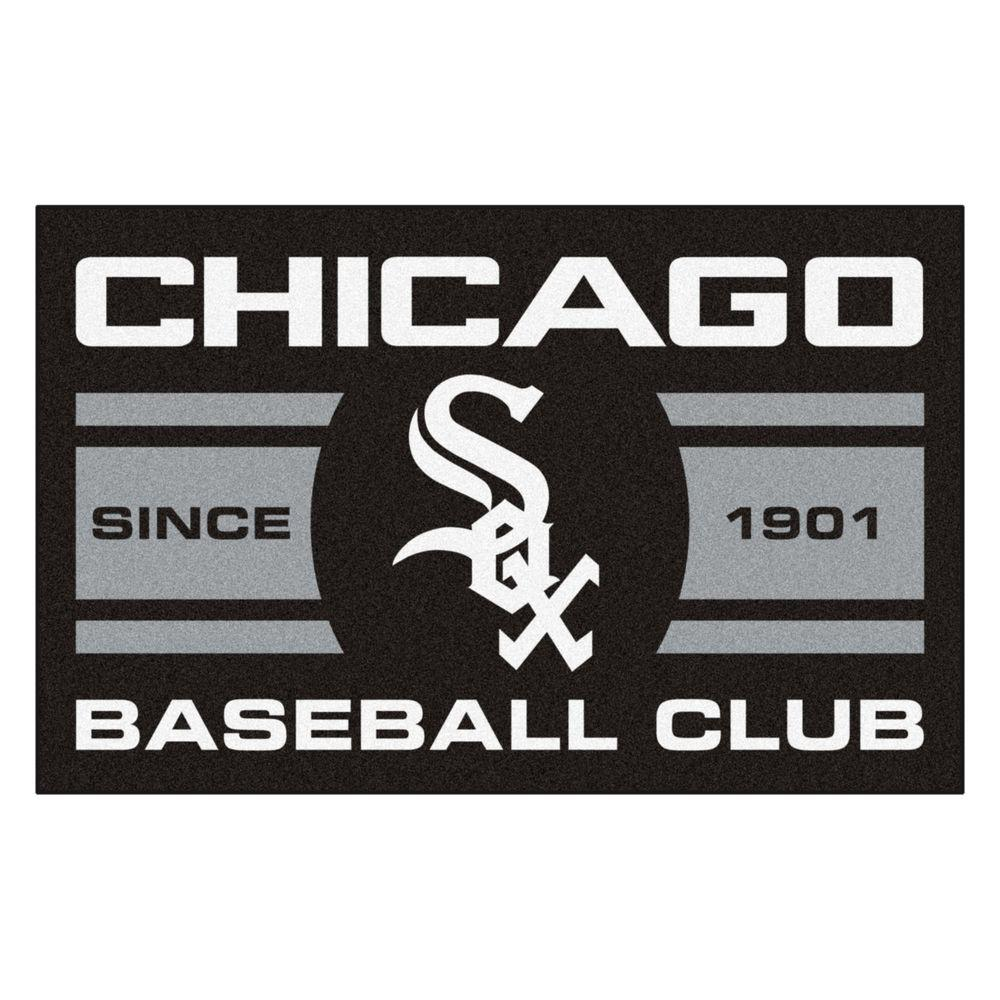 MLB Chicago White Sox Black 1 ft. 7 in. x 2 ft. 6 in. Accent Rug