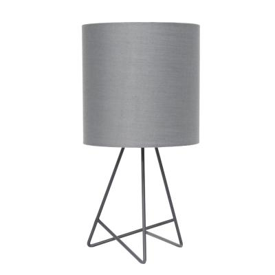 13.5 in. Gray Down to the Wire Table Lamp with Gray Fabric Shade