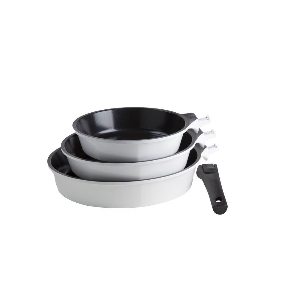 Art & Cuisine Amovible Fry Pans in White (Set of 3)-DISCONTINUED