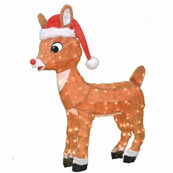 Rudolph 3 ft LED Rudolph with Santa Hat | The Home Depot