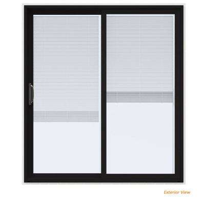 72 in. x 80 in. V-4500 Contemporary Black Paint Vinyl Left-Hand Full Lite Sliding Patio Door w/White Interior & Blinds