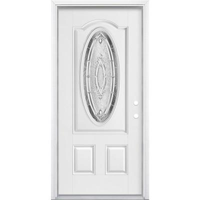 36 in. x 80 in. Providence 3/4 Oval Lite Left Hand Inswing Primed Smooth Fiberglass Prehung Front Door with Brickmold