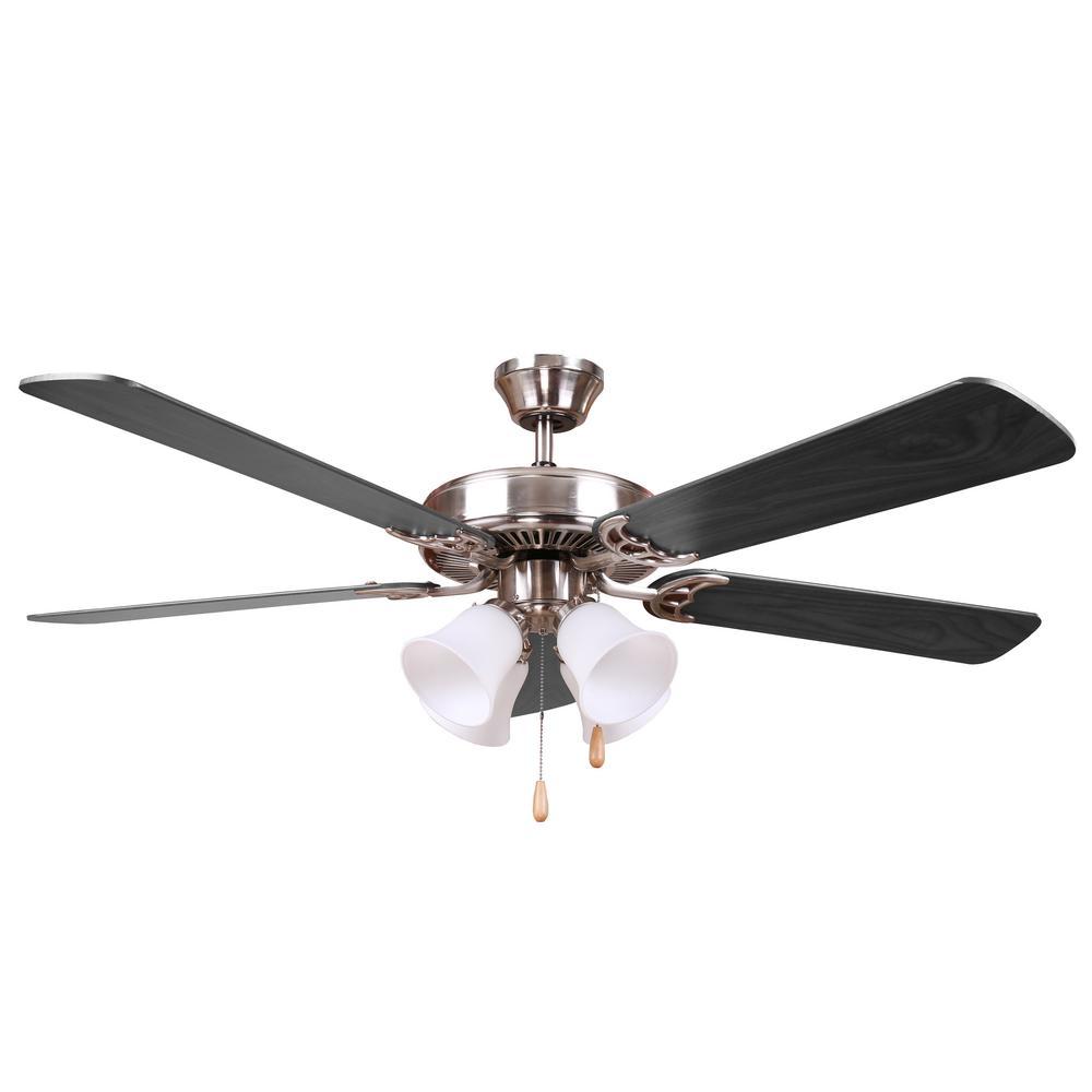 HARLI 52 in. Brushed Nickel Ceiling Fan with Black Blades