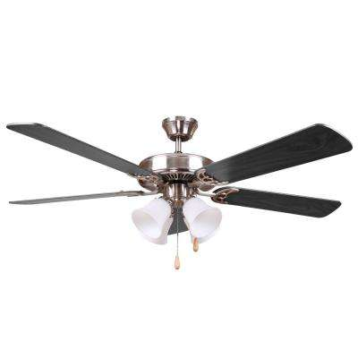 HARLI 52 in. Brushed Nickel Ceiling Fan with Black Blades