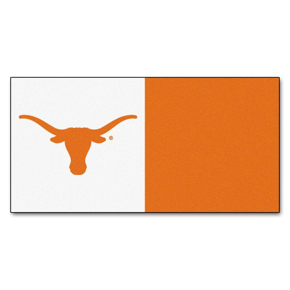FANMATS NCAA - University of Texas Clay and White Nylon 18 in. x 18 in. Carpet Tile (20 Tiles/Case)