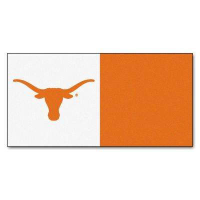NCAA - University of Texas Clay and White Nylon 18 in. x 18 in. Carpet Tile (20 Tiles/Case)