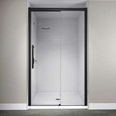 48 in. x 76 in. Semi-Frameless Concealed Sliding Shower Door in Matte Black
