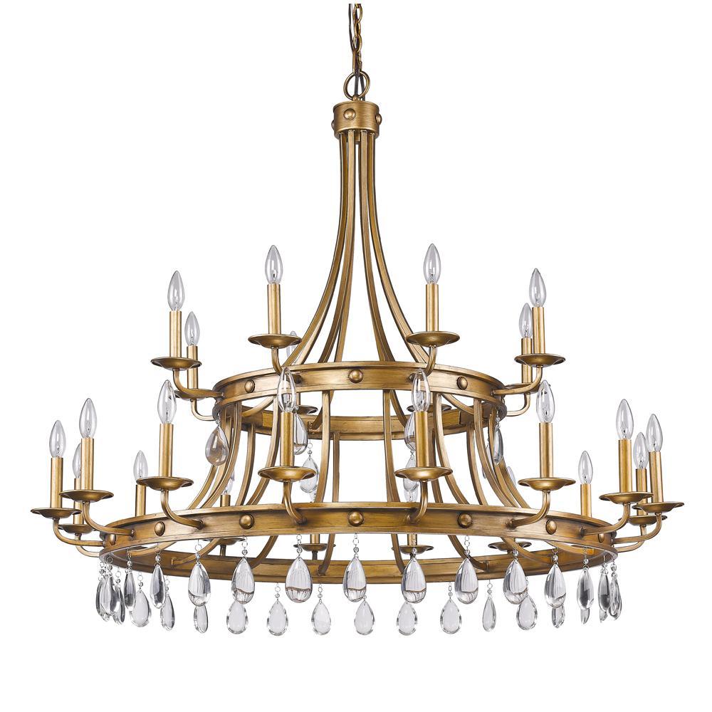 Krista 24-Light Indoor Antique Gold Chandelier with Crystal Pendants