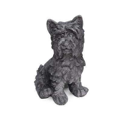 Cricket 11 in. x 9 in. Antique Grey Outdoor Terrier Dog Garden Statue