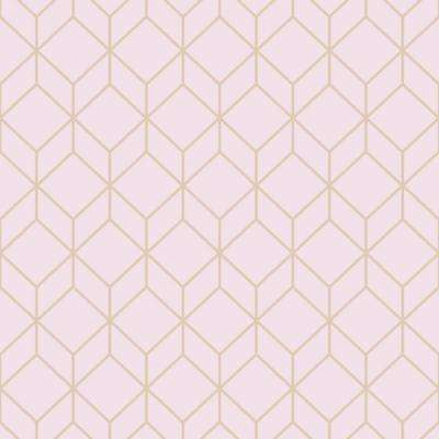 Myrtle Geo Pink and Rose Gold Removable Wallpaper