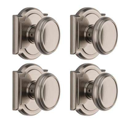 Prestige Carnaby Satin Nickel Hall/Closet Door Knob (4-Pack)
