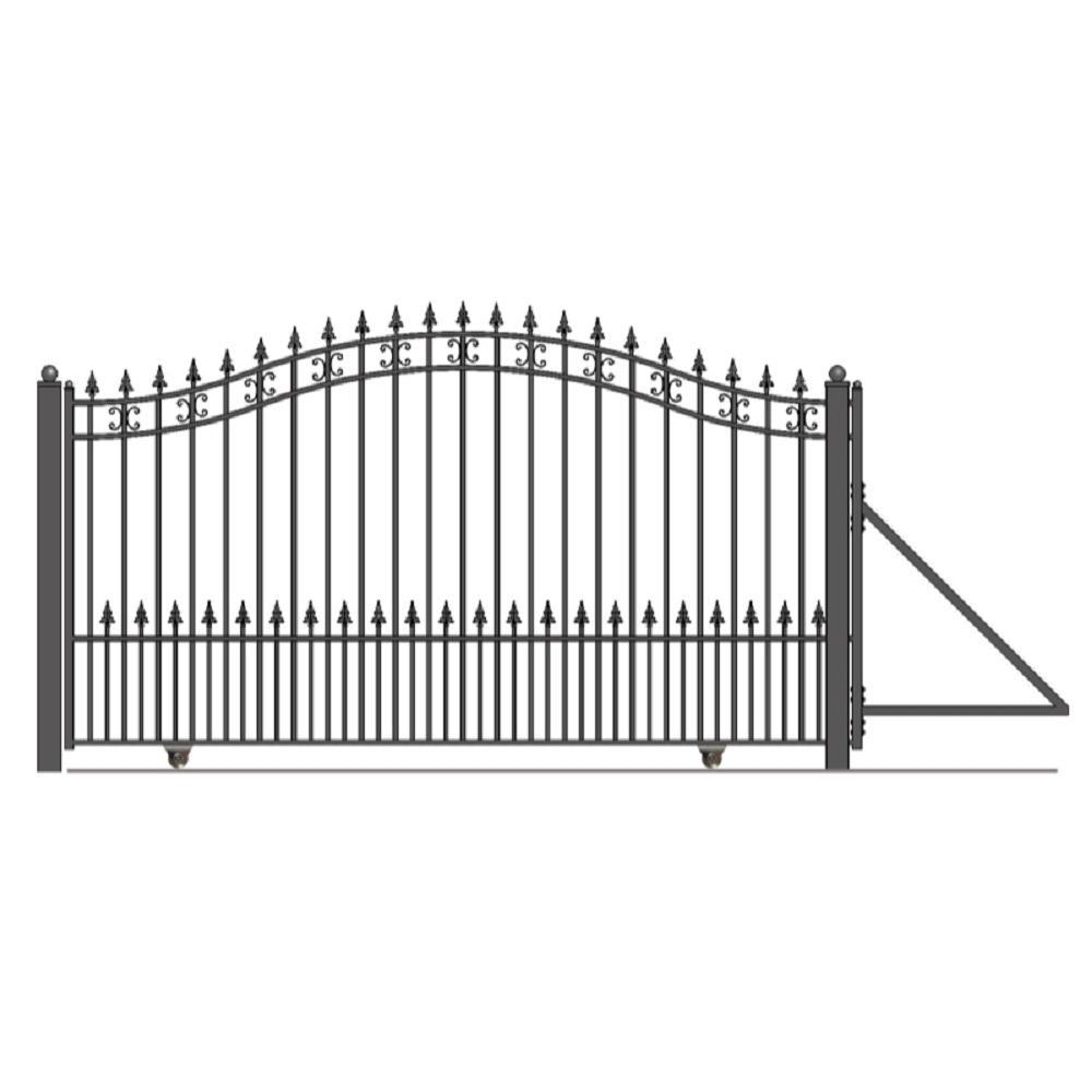 St. Petersburg Style 18 ft. x 6 ft. Black Steel Single Slide Driveway Fence Gate