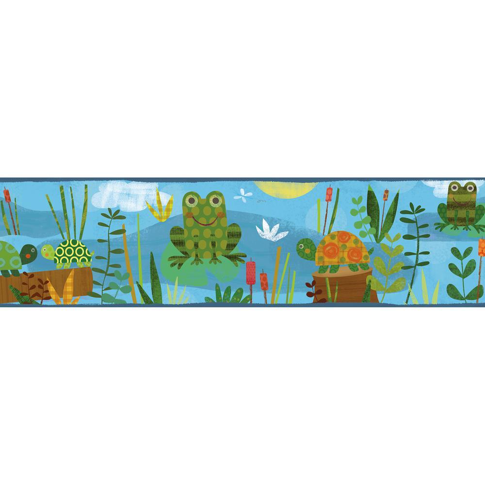 Chesapeake Kermis Frog Marsh Toss Wallpaper Border-TOT46332B - The ...