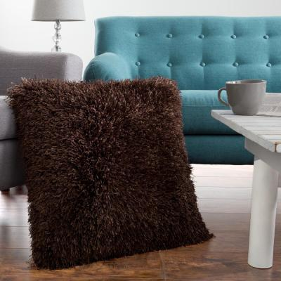 Shag Floor Chocolate Solid Polyester 24 in. x 24 in. Throw Pillow