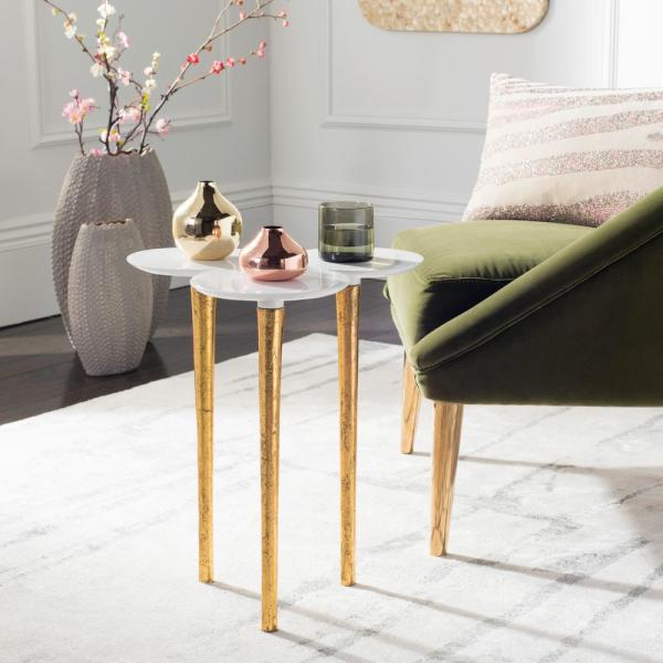 Safavieh Aria White and Gold Side Table FOX3213A