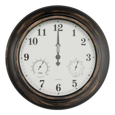 18 in. Antique Bronze Thermometer and Hygrometer Indoor/Outdoor Quartz Wall Clock