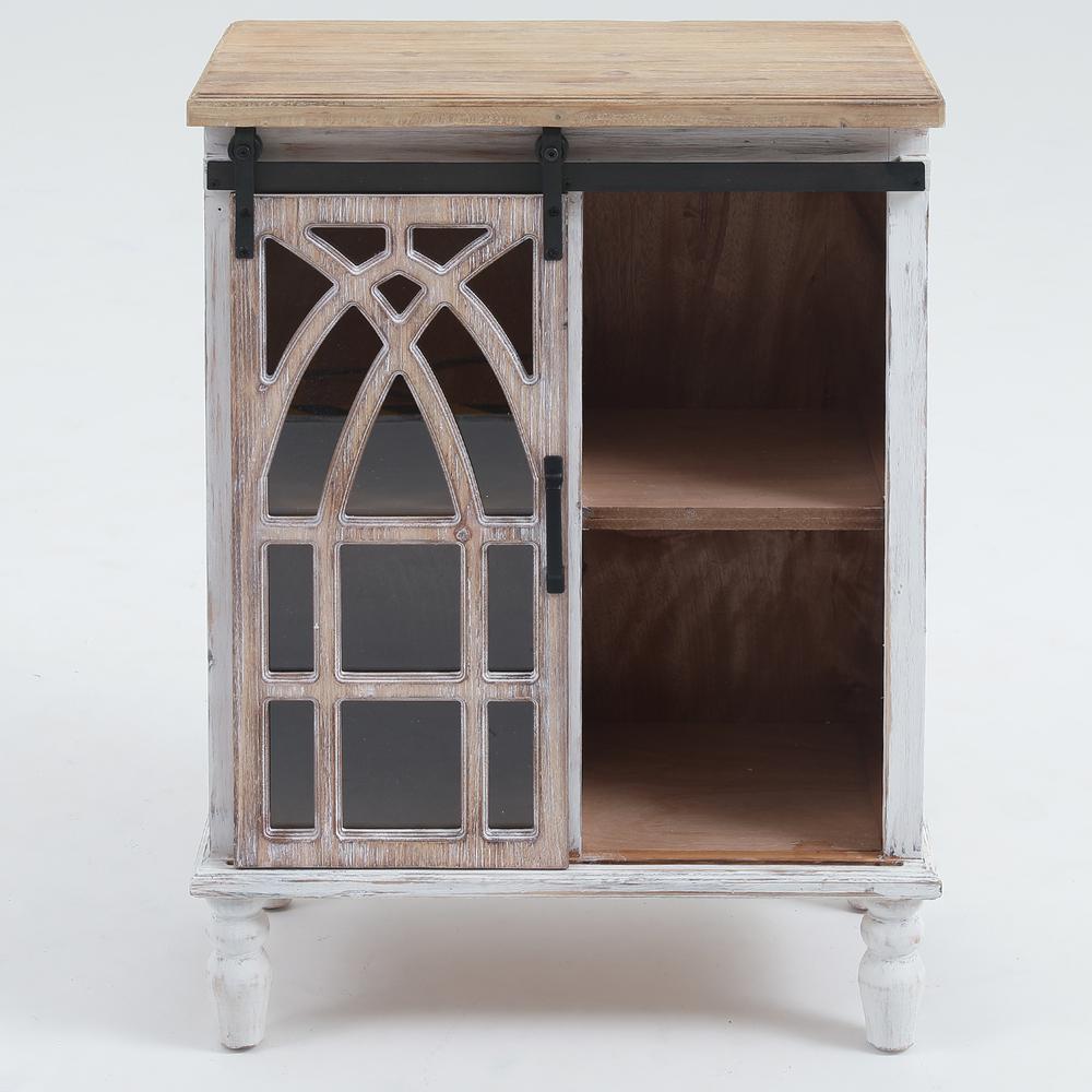 White Decorative Wood Cabinet with Sliding Door
