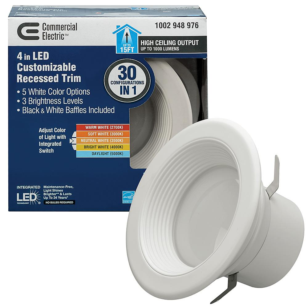 Commercial Electric 4 in. Selectable Integrated LED Recessed Trim Downlight 30 Configurations in 1 Fixture High Ceiling Output T20 Compliant