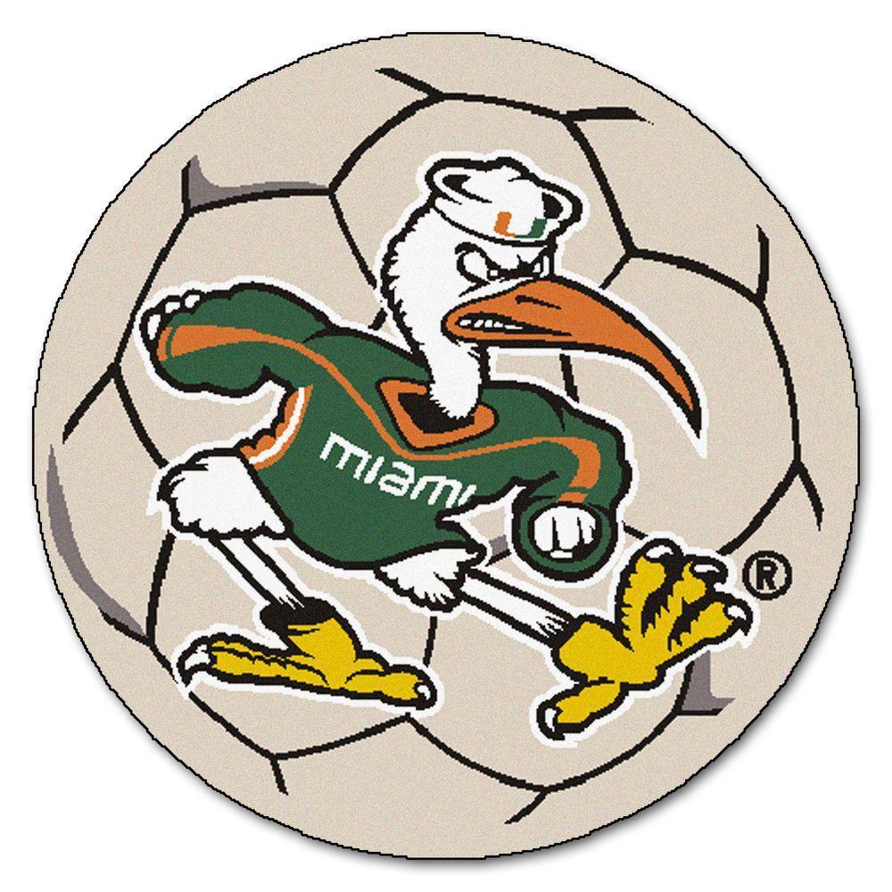NCAA University of Miami Sebastian the Ibis Logo Cream 2 ft. x 2 ft. Round Area Rug