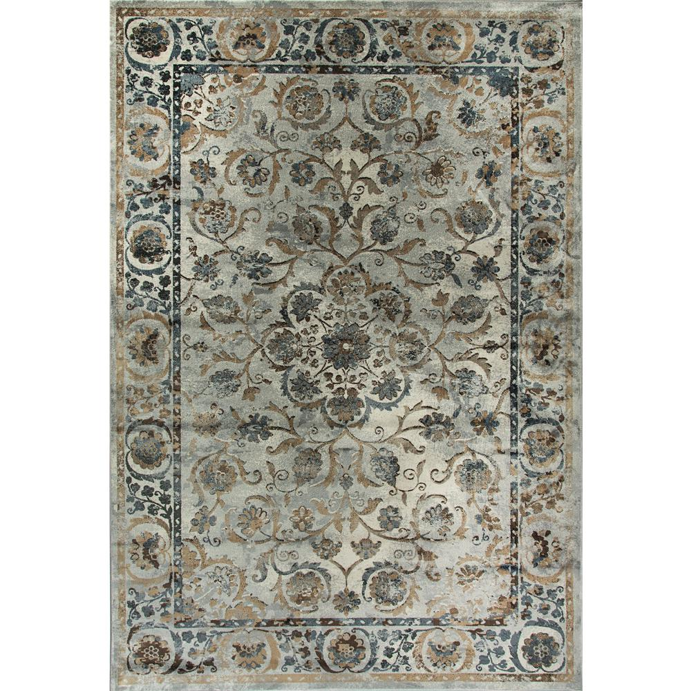 Dynamic rugs royal treasure soft blue mocha 6 ft 7 in x for Soft area rugs