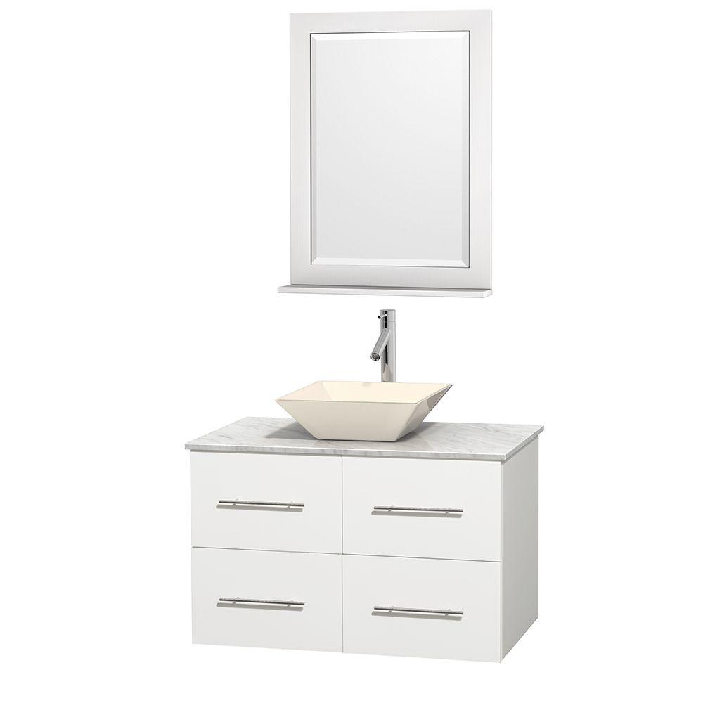 Wyndham Collection Centra 36 in. Vanity in White with Marble Vanity Top in Carrara White, Bone Porcelain Sink and 24 in. Mirror