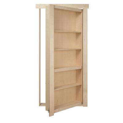 30 in. x 80 in. Flush Mount Assembled Maple Unfinished Left Hand Out-Swing Solid Core Interior Bookcase Door