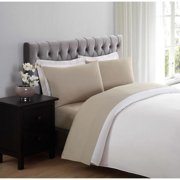 Truly Soft Truly Soft Khaki 4 Piece Solid 180 Thread Count Microfiber King Sheet Set Ss1658khkg 4700 The Home Depot