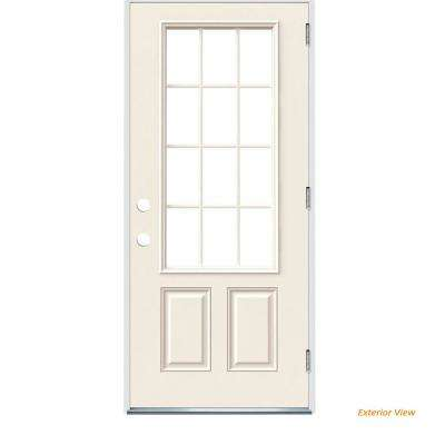 36 in. x 80 in. 12 Lite Primed Steel Prehung Left-Hand Outswing Front Door