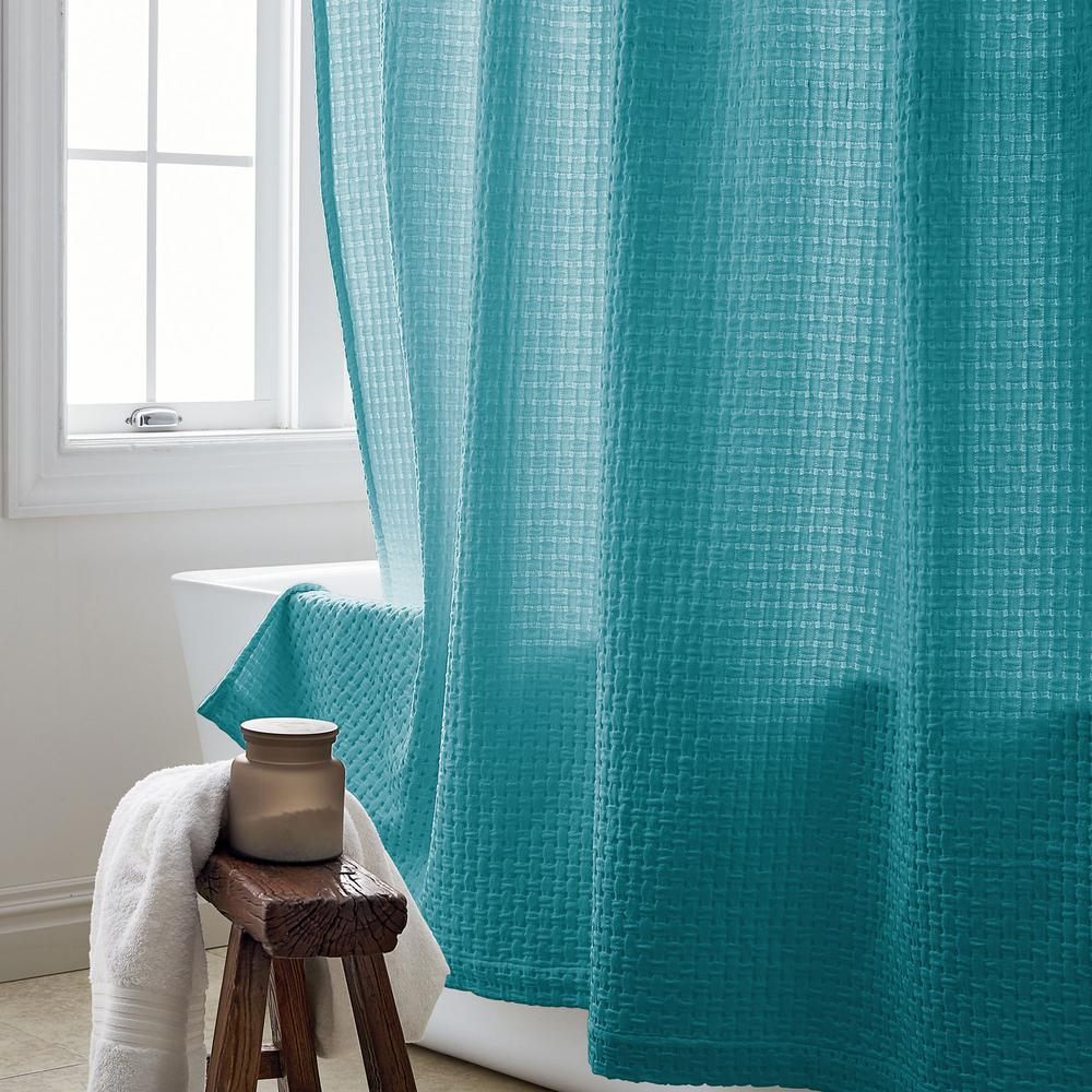 Basket Weave 72 in. Lagoon Shower Curtain