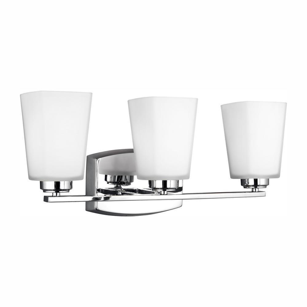 Sea Gull Lighting Waseca 3-Light Chrome Bath Light with LED Bulbs