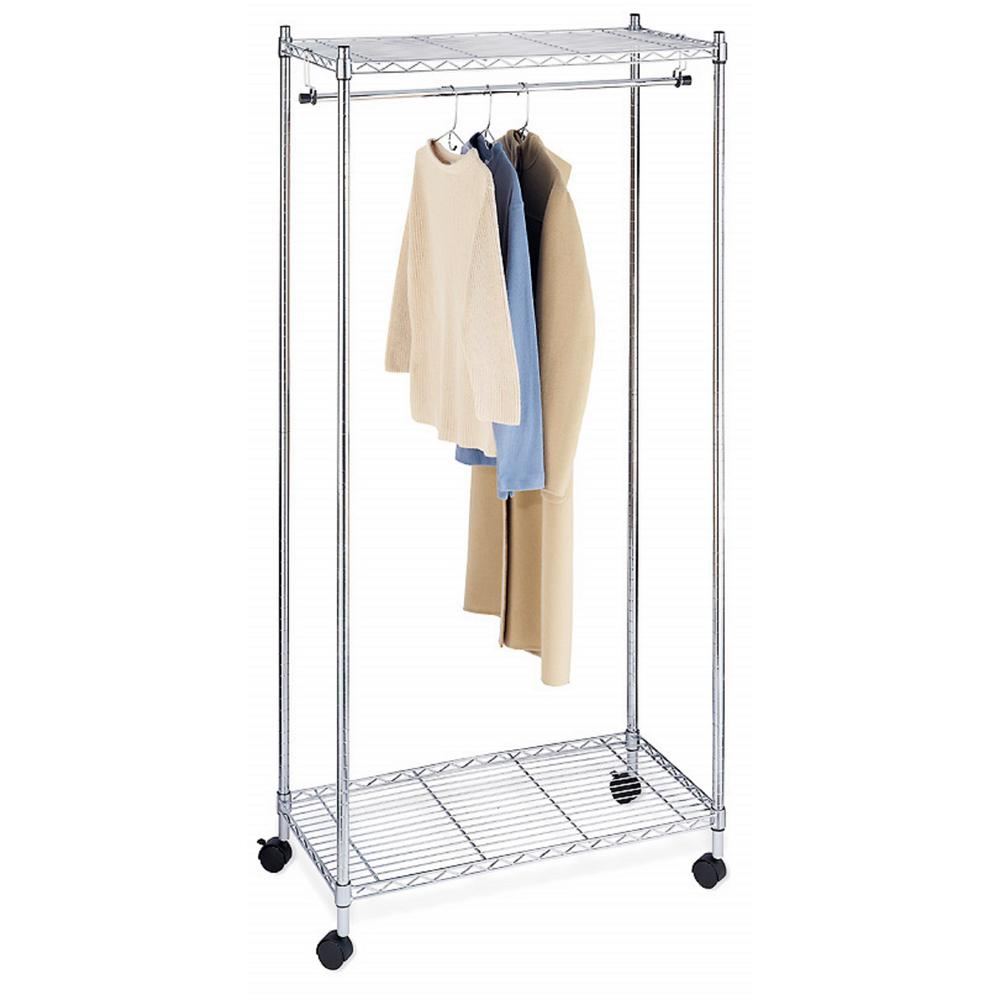 Whitmor Supreme Shelving Collection 36 in. x 70.25 in. Supreme Garment Rack in Chrome (Grey) Add more closet space with this Supreme Garment Rack. Made of heavy duty steel with a sleek chrome finish, there's a sturdy hanging rod that can hold up to 50 shirts, dresses, pants and more. Use the convenient shelves on top and bottom to hold hats, shoes or accessories. The garment rack features easy-glide wheels so you can roll it from room to room as needed.