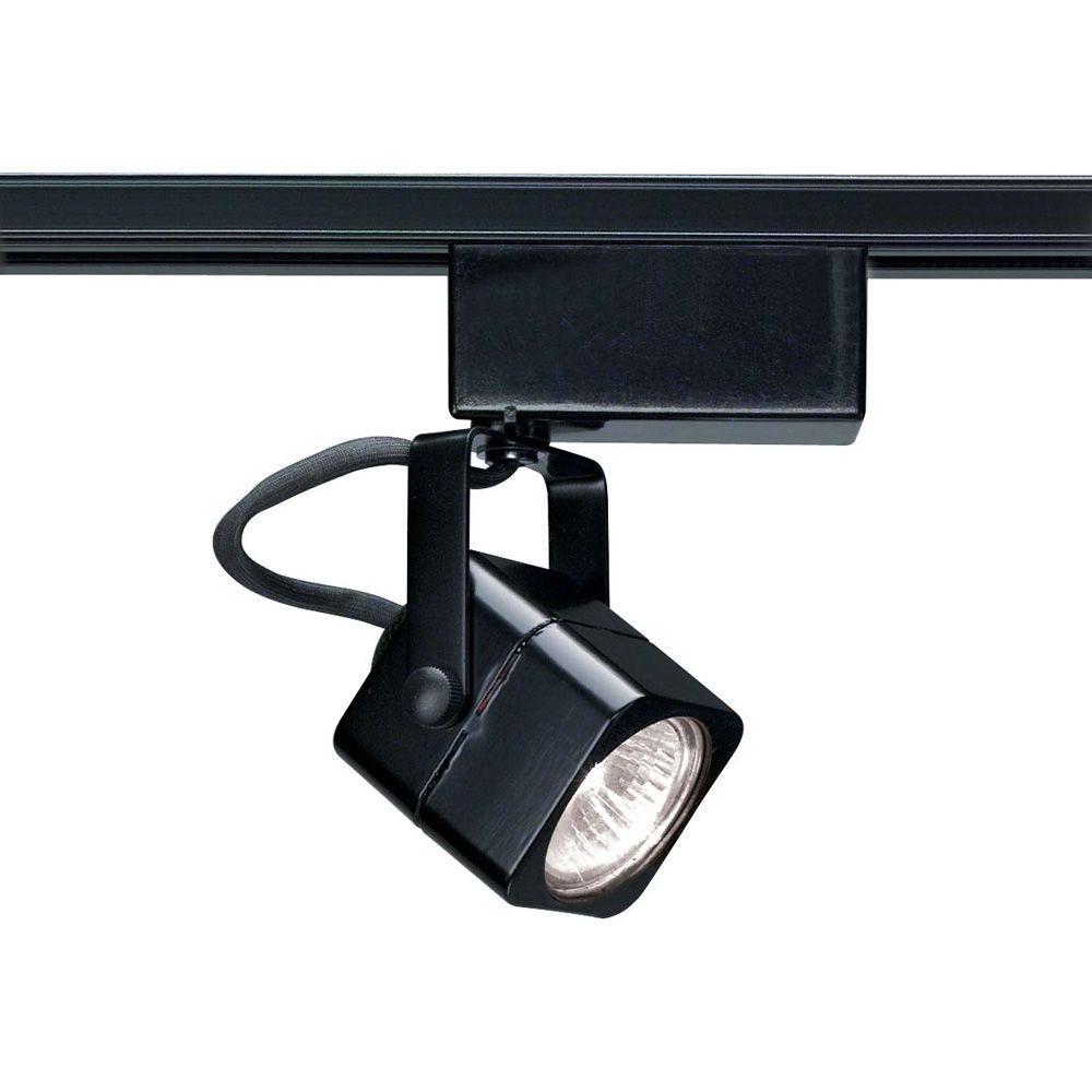 1-Light MR16 12-Volt Black Square Track Lighting Head