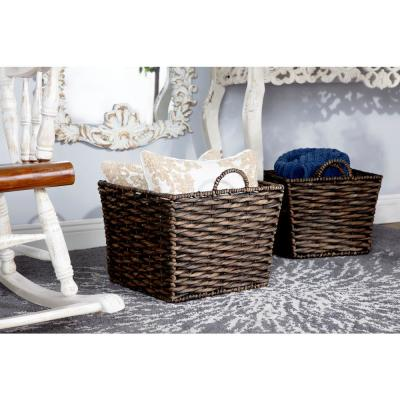 Large Square Water Hyacinth Wicker Dark Brown Storage Baskets (Set of 3)