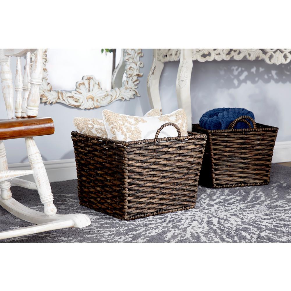 Large Square Water Hyacinth Wicker Dark Brown Storage Baskets (Set of 3)