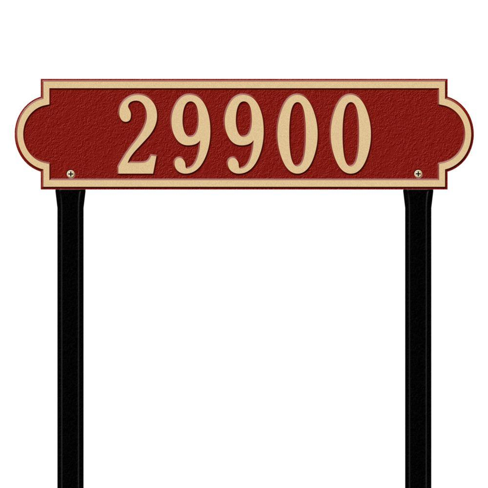 Whitehall Products Richmond Rectangular Red/Gold Estate Lawn One Line Horizontal Address Plaque
