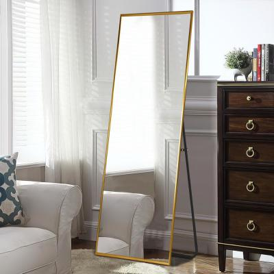Large Titanium Gold Metal Shelves & Drawers Modern Mirror (59 in. H X 20 in. W)