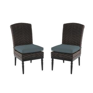 Camden Dark Brown Wicker Outdoor Patio Armless Dining Chair with Sunbrella Denim Blue Cushions (2-Pack)