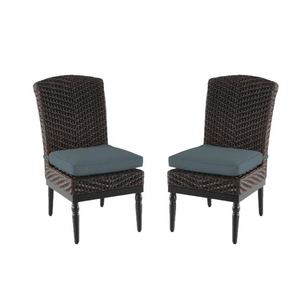 Camden Dark Brown Wicker Outdoor Patio Armless Dining Chair with Sunbrella Denim Blue Cushions (2-Pack)