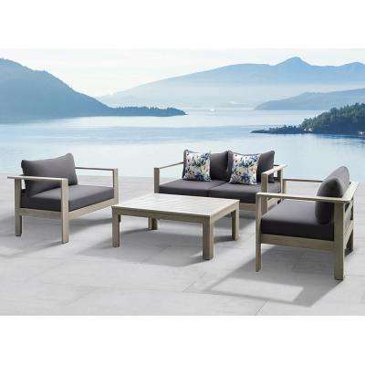 Gueliz Gray 4 Piece Wood Patio Conversation Set With Gray Cushions