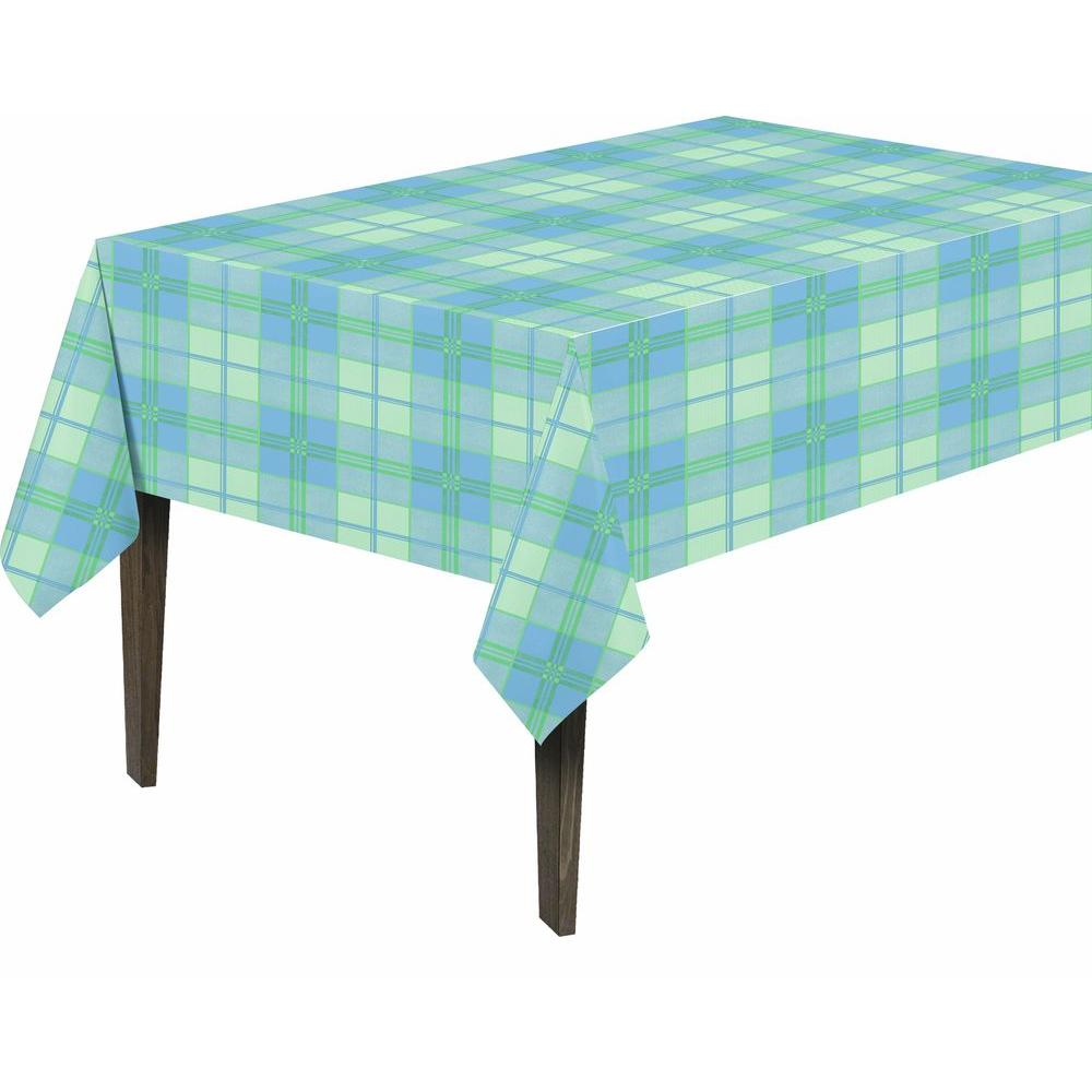 55 in. x 102 in. Indoor and Outdoor Plaid Design Table