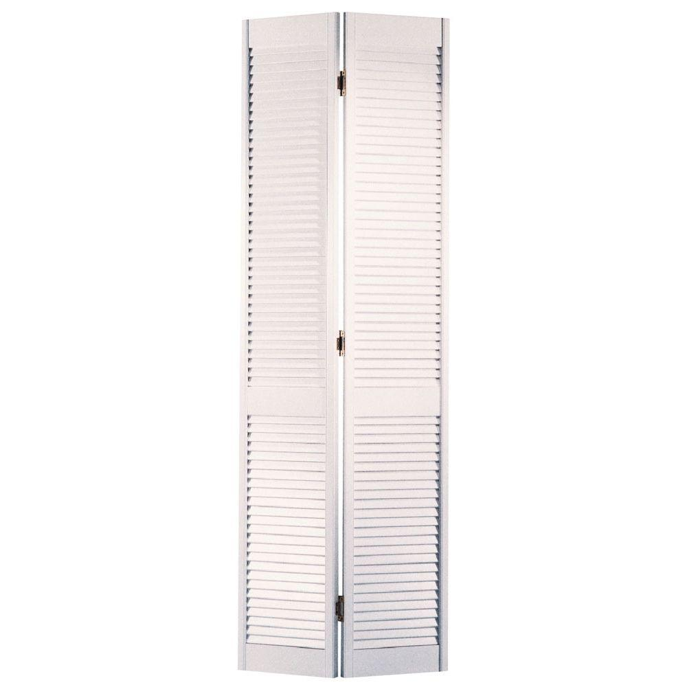 Masonite 24 in. x 80 in. Full-Louver Primed White Hollow-Core Smooth Pine Bi-fold Door