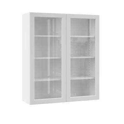 Melvern Assembled 36x42x12 in. Wall Kitchen Cabinet with Glass Doors in White