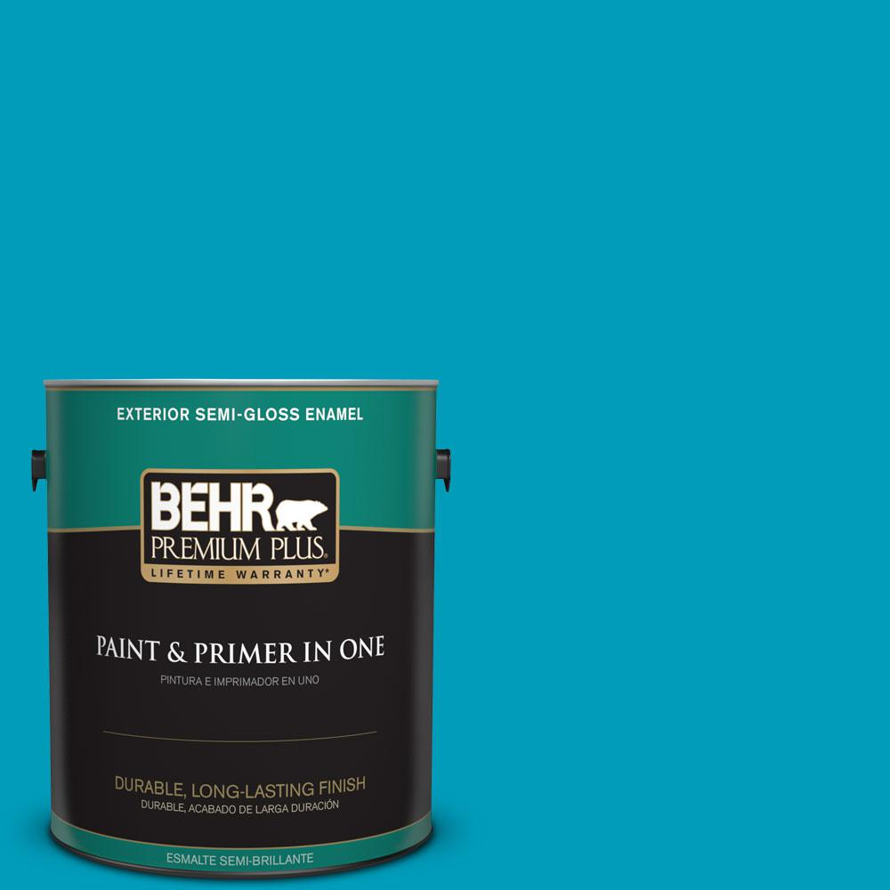 BEHR Premium Plus 1-gal. #520B-6 Brilliant Sea Semi-Gloss Enamel Exterior Paint
